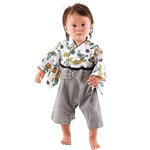 FUN fun Baby Boys' Hakama Coverall 0-6 Months Multi-Color