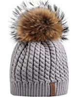 Winter Fur Pom Pom Hat - Womens Crochet Knit Beanie Hat with Real Raccoon Fox Fur Ball FURTALK Original