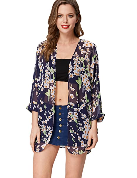 ee6614b446 GRACE KARIN Sexy Ladies Sheer Floral Print Cardigan Loose Fit Blouse Top  (One Size,