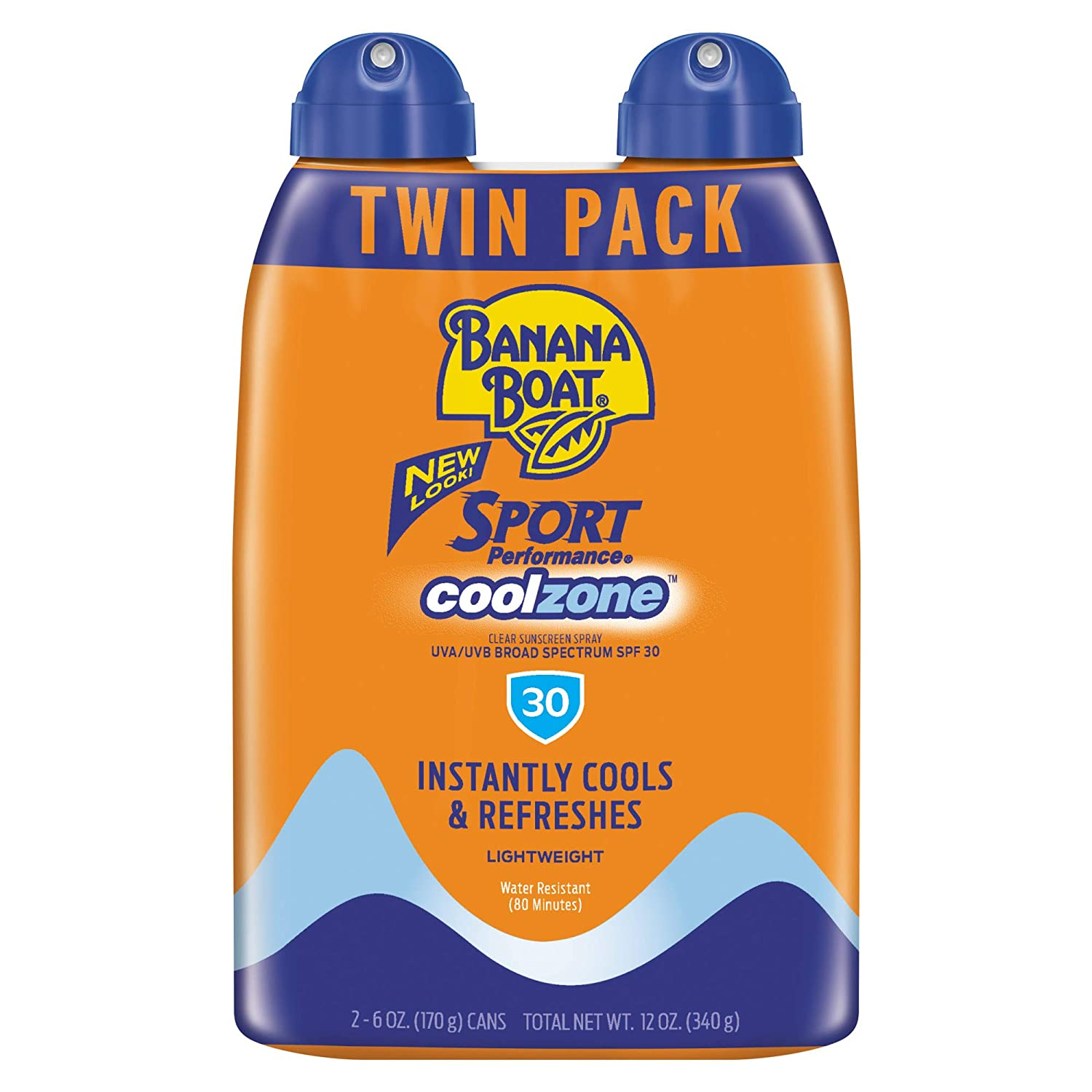 Banana Boat Sunscreen Sport Performance Coolzone, Broad Spectrum Sunscreen Spray, SPF 30, 6 Ounce - Twin Pack
