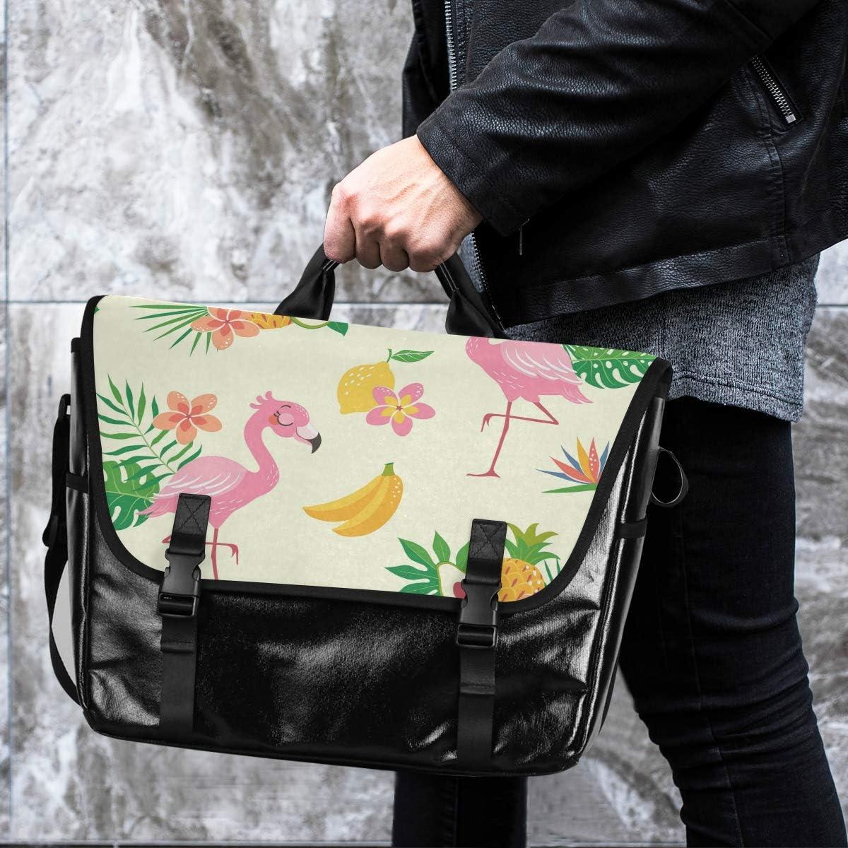 Flamingo Leaf Tropical Pineapple Messenger Bag Traveling Camping Casual Canvas Satchel Happy for Men Women Student Laptop Computer Shoulder Bag