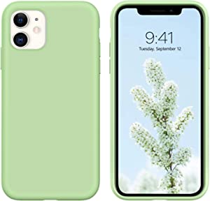 """iPhone 11 Case,DUEDUE Liquid Silicone Soft Gel Rubber Slim Cover with Microfiber Cloth Lining Cushion Shockproof Anti-Scratch Full Body Protective Case for iPhone 11 6.1"""" 2019,Matcha Green"""