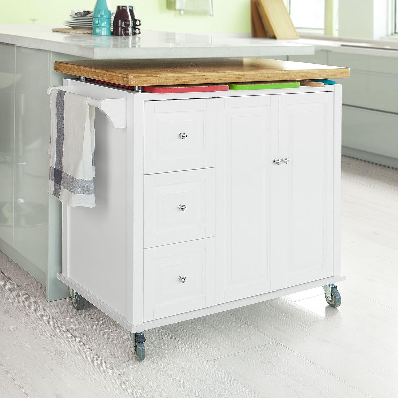 SoBuy FKW30-WN, New Luxury Kitchen Cart Kitchen Island, Kitchen ...