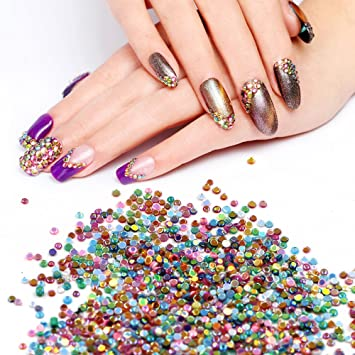 Amazon Meilind 3d Nail Art Rhinestones Round Tiny Gemstone