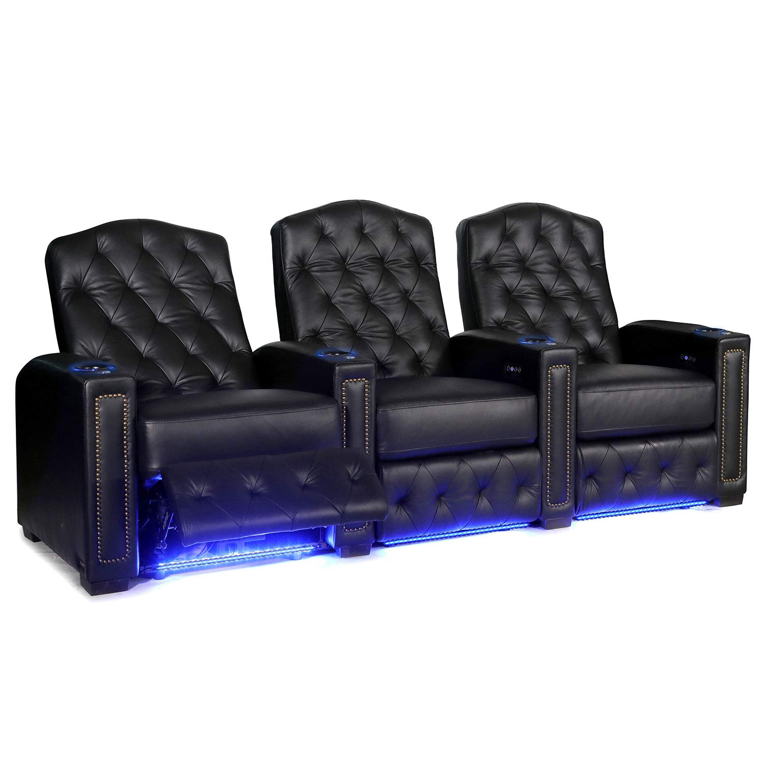 Octane Regal XL250 Power Recline Black Leather Home Theater Seating (Set of 3) by Octane Seating