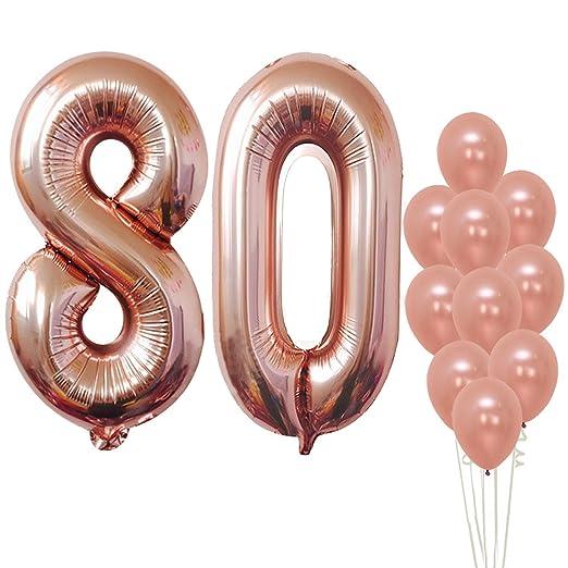 Globos de 80 globos en oro rosa - Grandes, 8 y 0 globos de ...