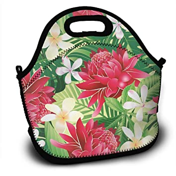 e69a96dcb2fd Print Hawaii Tropical Flower Art Backpack Lunch Bag Reusable Insulated  Waterproof School Picnic Carrying Gourmet Lunchbox