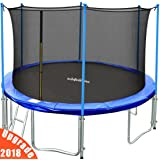 Zupapa TUV Approved 15FT 14FT 12FT Trampoline with Enclosure net, Ladder Pole Safety Pad Jumping Mat Spring Pull T-hook Include all Accessories