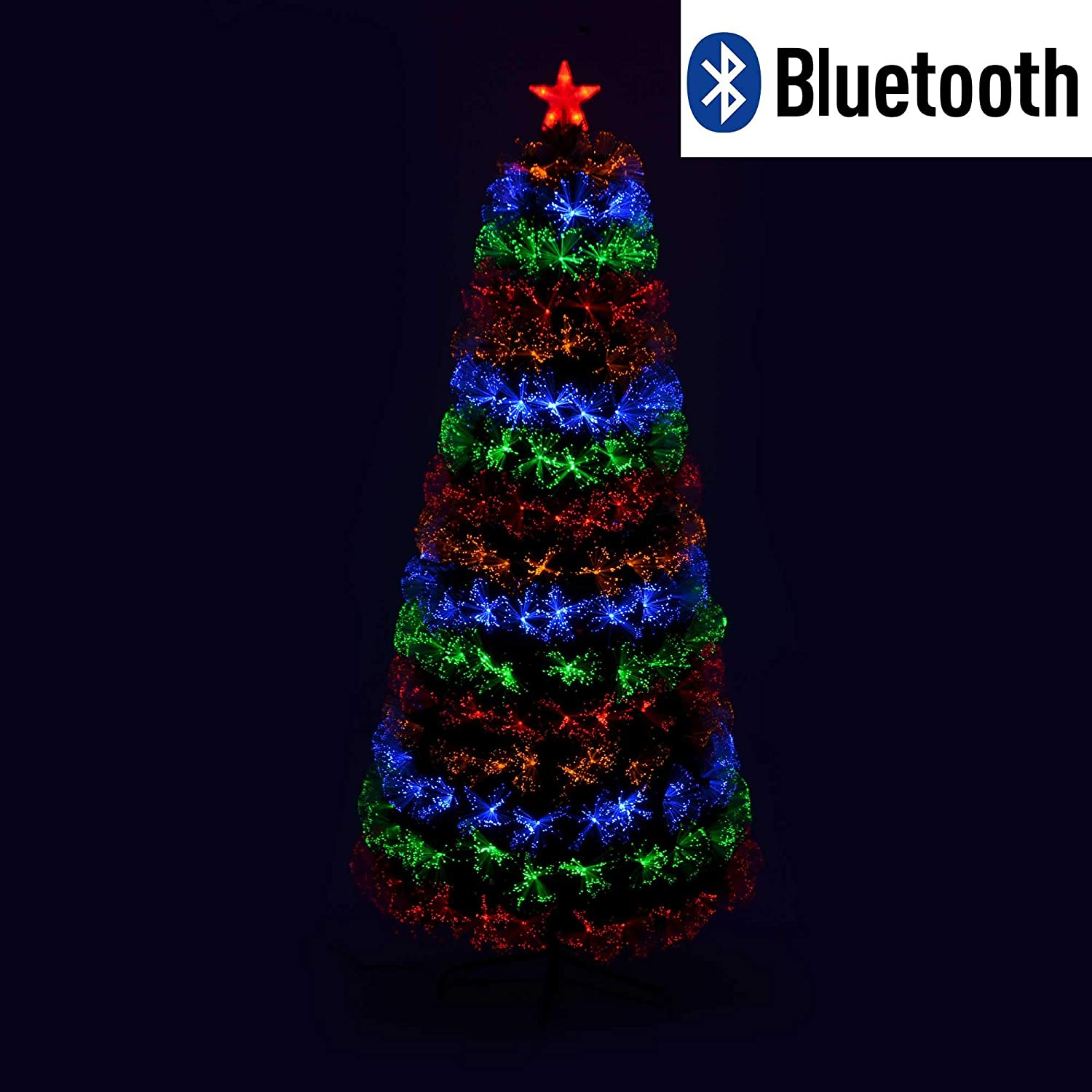 Shatchi 6055-FIBRE-OPTIC-BLUETOOTH-TREE-2,1 m Smart App Bluetooth Big 2,1 m Pre-illuminato LED fibra ottica 8 modalit/à//timer//luci decorazione natalizia per la casa 210 cm verde