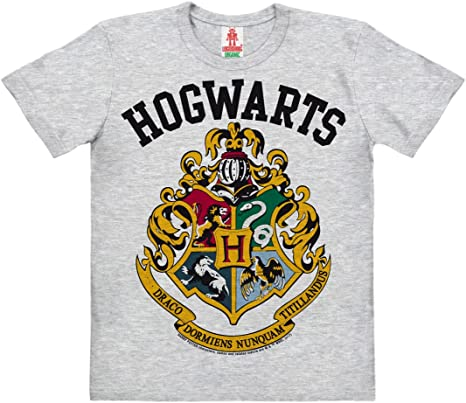 T-Shirt Originale Harry Potter Scuola di Hogwarts Grigia 100/% Ufficiale Warner Bros Grigia