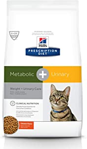 Hill's Prescription Diet Metabolic + Urinary, Weight + Urinary Care Chicken Flavor Dry Cat Food, 12 lb bag