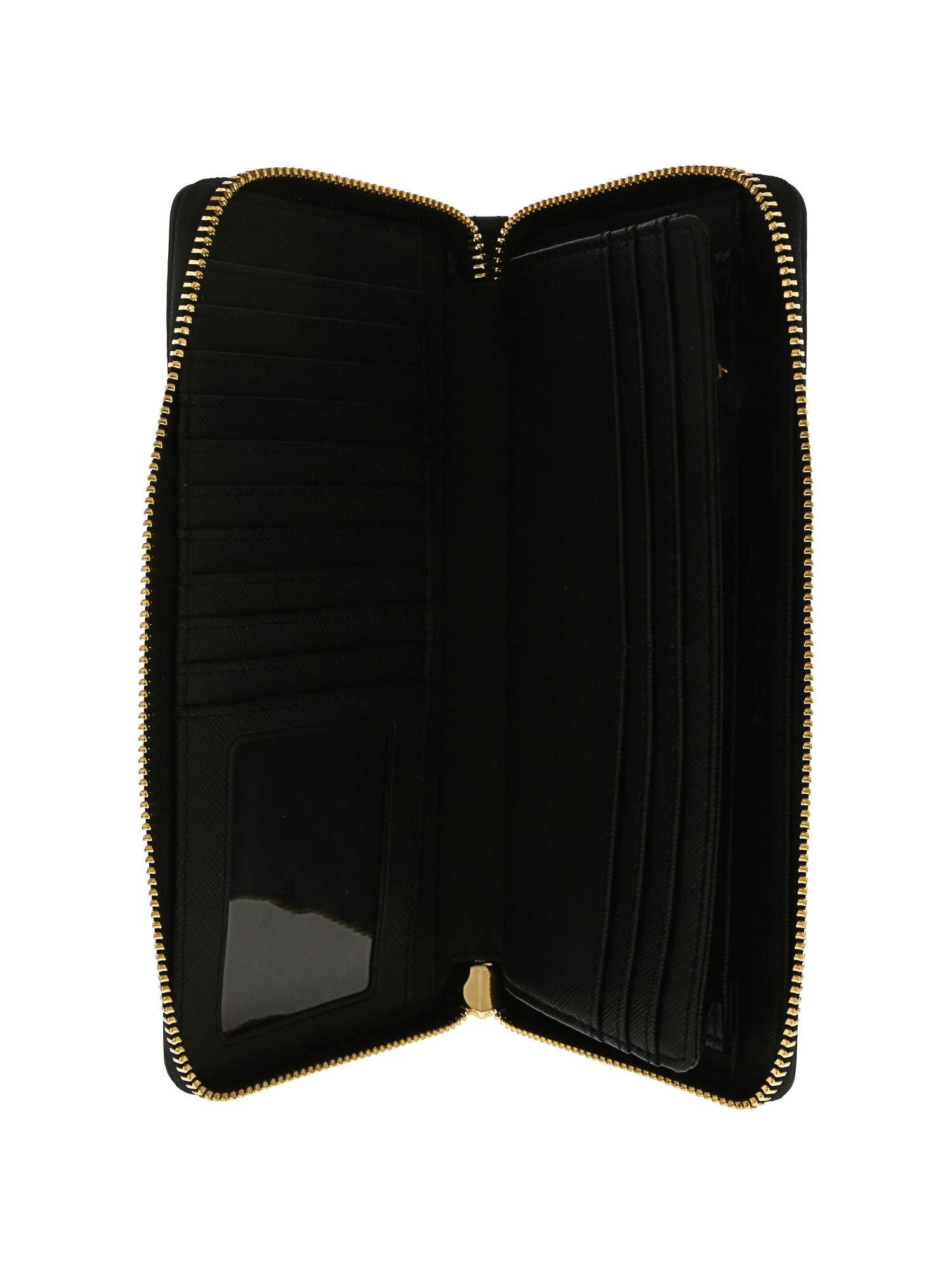 Michael Kors Jet Set Travel Continental Leather Wallet/Wristlet - Black/Gold by Michael Kors