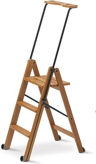 Arredamenti Italia Escalera 3 peldaños TUSCANIA, madera - Plegable - Con sistema de seguridad - Color: madera de cerezo