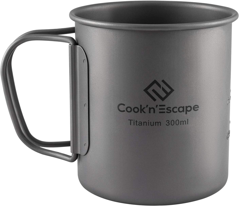 COOK'N'ESCAPE アウトドア用マグカップ チタン マグ シェラカップ 超軽量 収納袋付 専用収納袋付 FDA&LGFB食品グレード製品認証 指紋防止加工