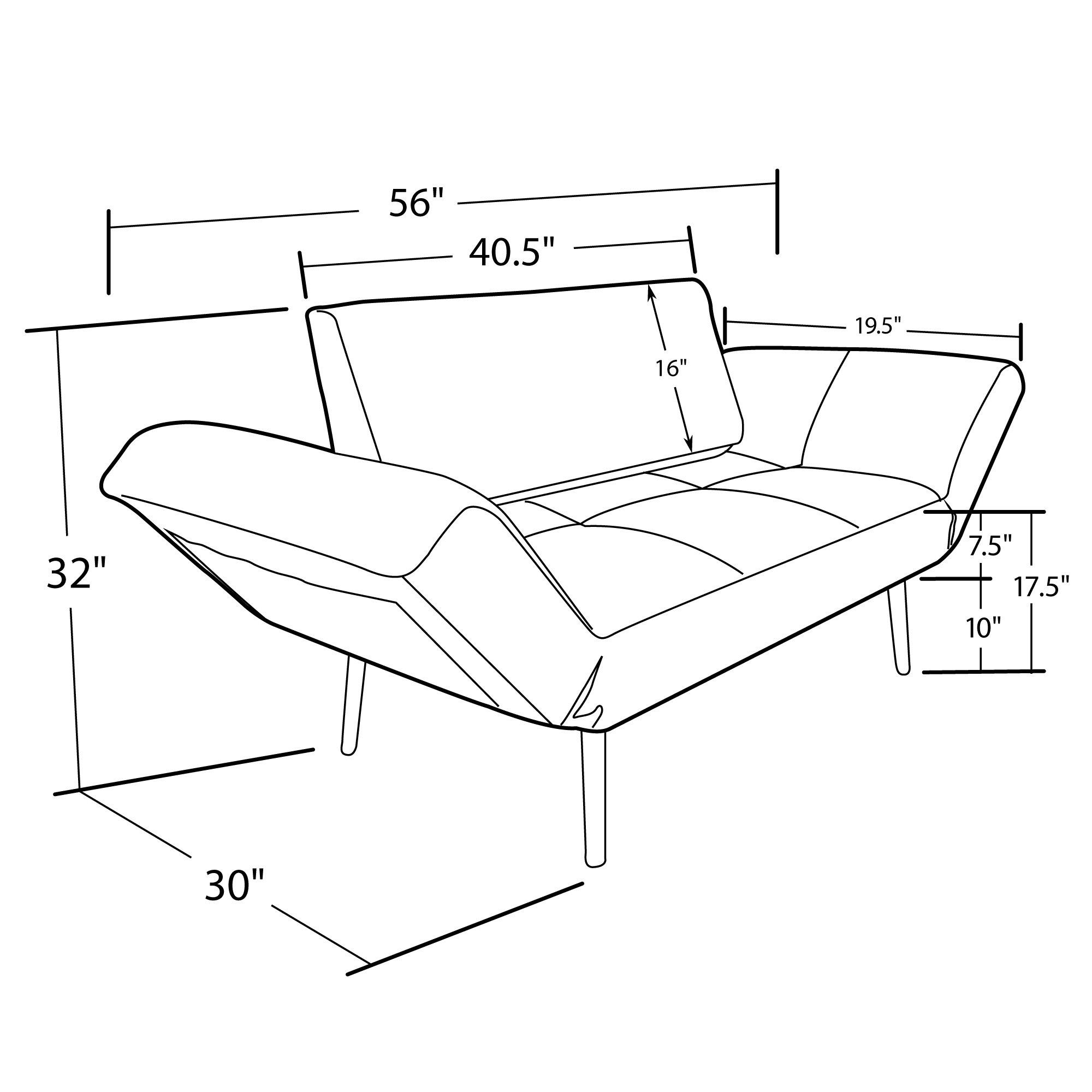 DHP Euro Sofa Futon Loveseat with Chrome Legs and Adjustable Armrests - Tan by DHP (Image #8)