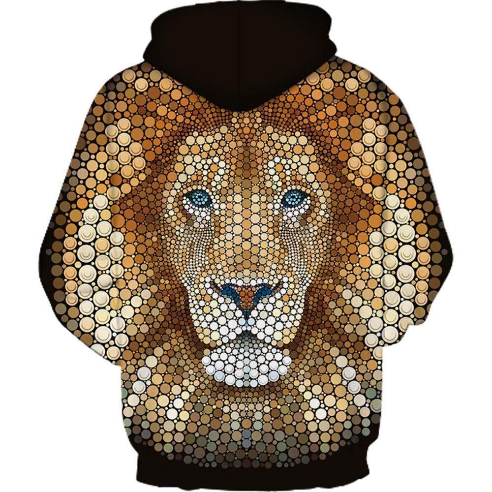 ZHRUI Lion 3D Hoodie Sweat À Capuche Hommes Asymétrique Noir Surdimensionné Pull Pull Long Slim Fit Long Sweat Fit Top Taille XXL XXXL coloré : Noir, Taille : MHH178-L3