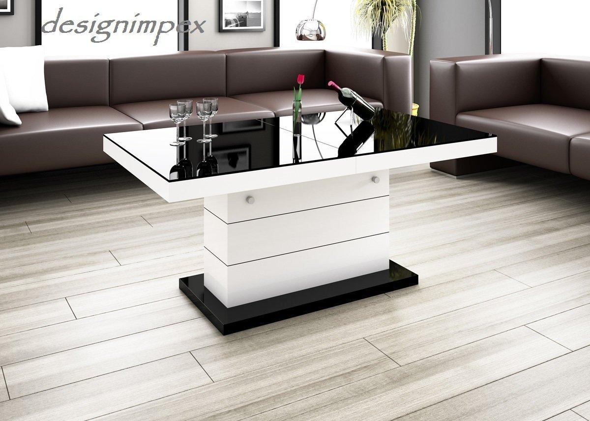 Design Couchtisch H 333 Weiß Schwarz Hochglanz Höhenverstellbar