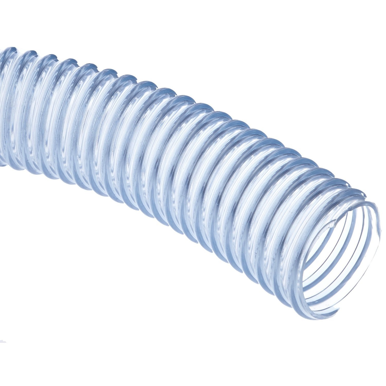 Unisource 1760 PVC Food Grade Dry Material Handling Static Wire Hose, 50 psi Maximum Pressure, 100' Length, 1-1/2'' ID
