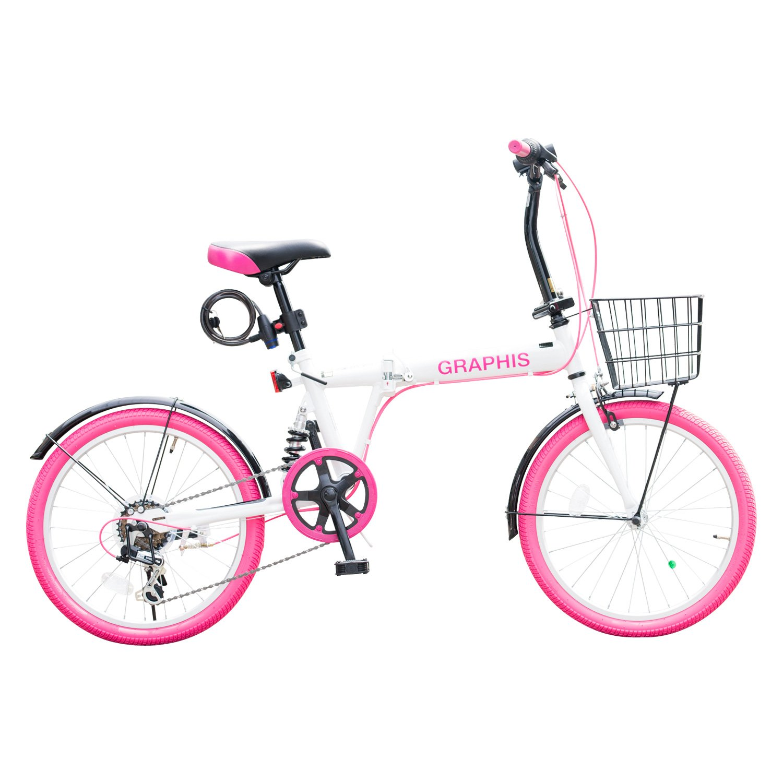 GRAPHIS(グラフィス) 折りたたみ自転車20インチ 6段変速 GR-777 B01I127OCU ホワイトピンク ホワイトピンク