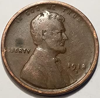 1918 S Lincoln Wheat Cent Very Good Penny VG