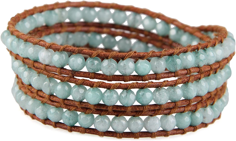 KELITCH Created Fire Agate Beads on Genuine Leather 3 Wrap Bracelet Handmade New Charm Summer Jewelry
