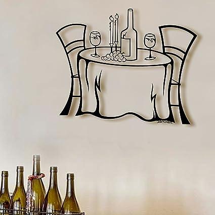 Amazon.com: Wine Table Metal Art Sculpture Wall Art, Black Metal ...