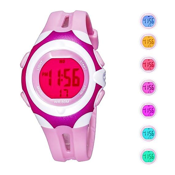 Reloj de Pulsera Digital para niños con Alarma LED, analógico, 7 Colores, cronógrafo, Resistente al Agua, Reloj de Pulsera para niños, ...