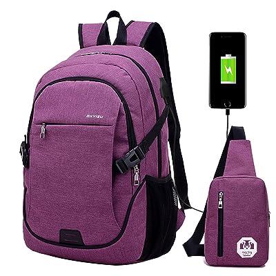 Super Modern Unisex Nylon School Backpack with USB Charger Port Laptop Bag for Teen Girls and Boys Cool Sports Backpack 2 bags Set 1 Big Backpack and 1 shoulder Bag