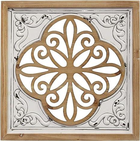Amazon Com Stratton Home Decor Stratton Home Decor Wood And Metal White Square Wall Decor Home Kitchen