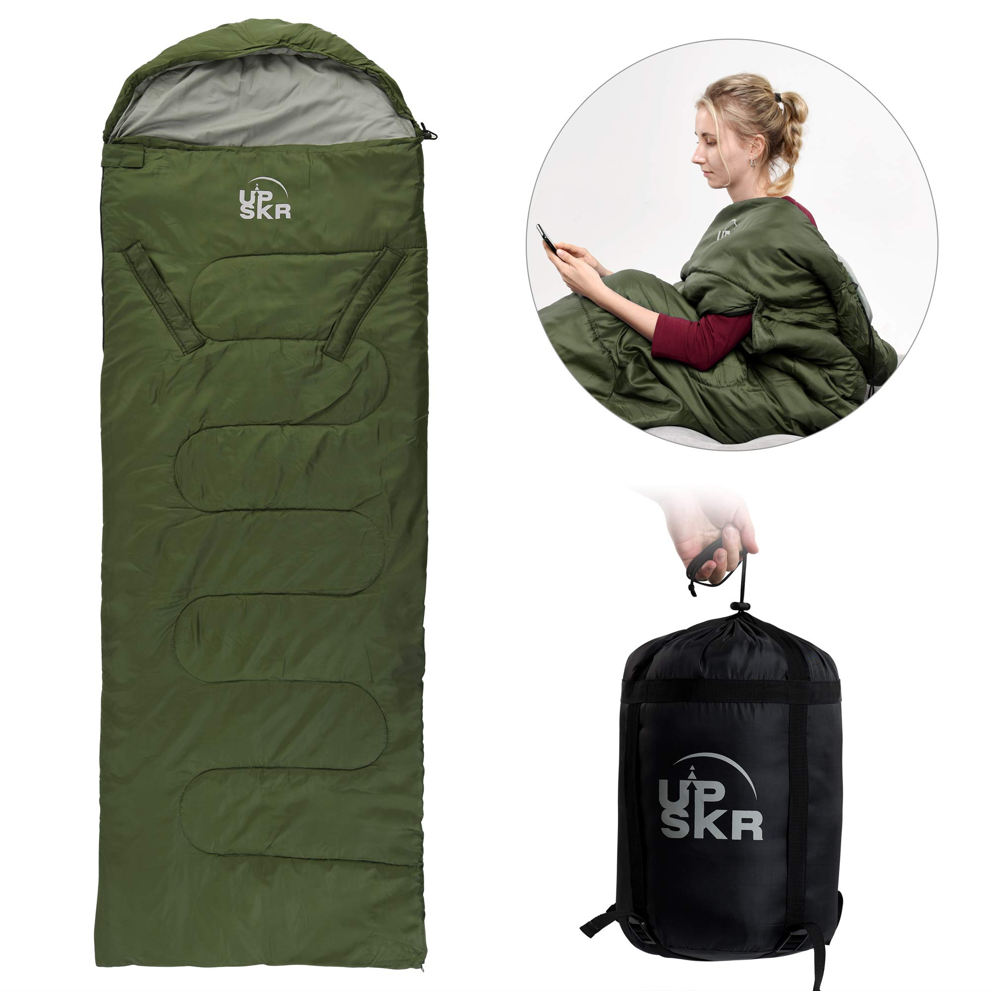 UPSKR Sleeping Bag Lightweight & Waterproof for Adults & Kids Cold Weather, 4 Season Rectangular Sleeping Bags Great for Indoor & Outdoor Use Hiking Backpacking Camping Traveling with Compression Sack by UPSKR