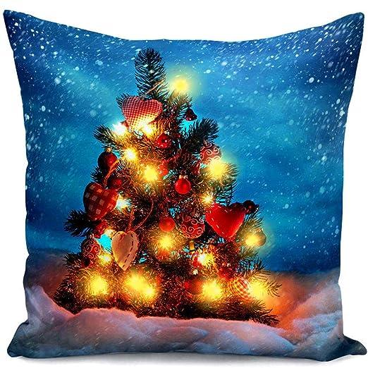 GZQ Funda de Cojín para Navidad,Funda de Cojín con luz LED, 45 * 45 cm Funda para Adorno del Casa, Oficina, Coche,Diseno Elk, Santa, Amor árbol de ...