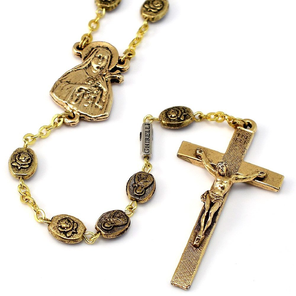 Ghirelli St. Therese of Lisieux Rosary in Antique Gold Plated Finish Made in Italy Exclusively 19159 by Ghirelli