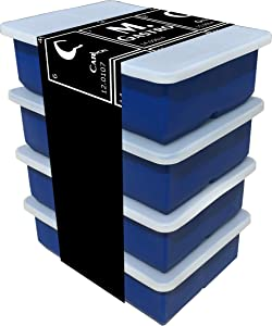 Silicone Ice Cube Trays by M. Gastro Kitchens, SAVE WITH OUR ECONOMY 4 PACK, Extra Large Ice Cubes, Space Saving Design, 6 Cavity (Midnight Blue with 4 Lids)