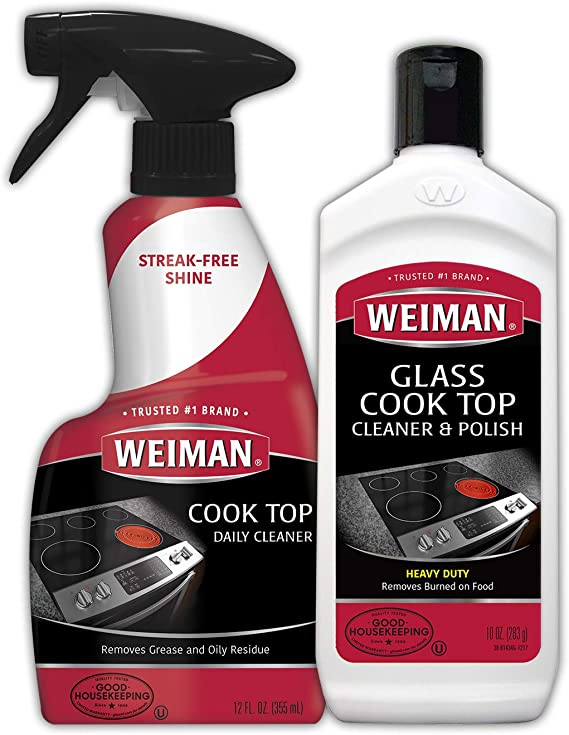 Weiman Ceramic and Glass Cooktop Cleaner - 10 Ounce - Stove Top Daily Cleaner Kit - 12 Ounce - Glass Ceramic Induction Cooktop Cleaning Bundle for ...