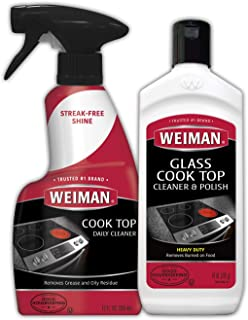Weiman Glass Ceramic Cooktop Cleaner - 10 Ounce - Stove Top Daily Cleaner Kit- 12