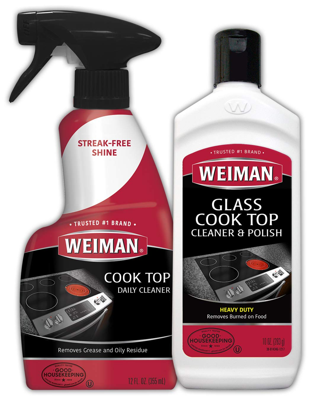 Weiman Ceramic and Glass Cooktop Cleaner - 10 Ounce - Stove Top Daily Cleaner Kit - 12 Ounce - Glass Ceramic Induction Cooktop Cleaning Bundle for Heavy Duty Mess Cleans Burnt-on Food by Weiman
