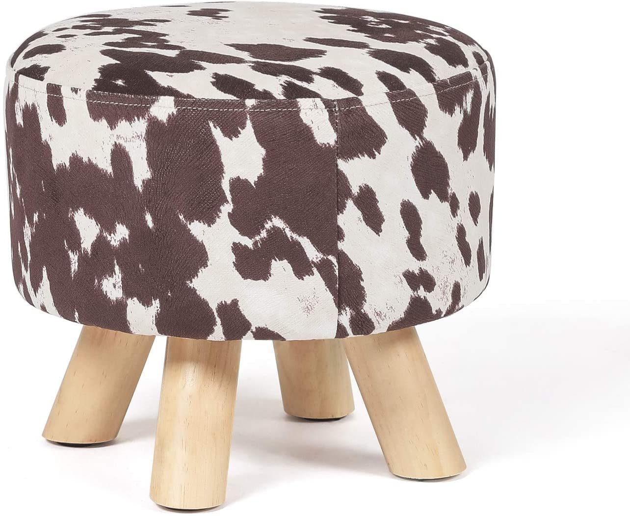 Edeco Modern Round Ottoman Foot Rest Stool Seat Pouf Ottoman With Linen Fabric And Non Skid Wooden Legs Brown Cow Furniture Decor