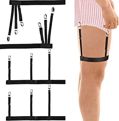 Pair Men/'s Shirt Stays Holders Elastic Leg Garter with Non-slip Locking Clamps