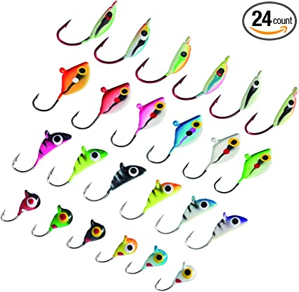 12 Jig-o-bit jigs 1//4 oz white//green Fishing walleye crappie bass ice fish
