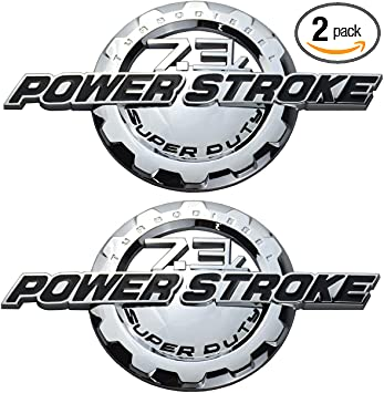 Red//Black 2 Pack 7.3 Power Stroke Intercooled Turbo Diesel Truck Super Duty Chrome Sticker Decal Emblem Badge
