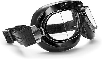 BERTONI Gafas para Moto Retro Aviadoras con Lentes Antivaho y Montura de Acero Negro Matte - Mod. AF193A Italy - Gafas Motoristas para Cascos Moto Harley y Chopper