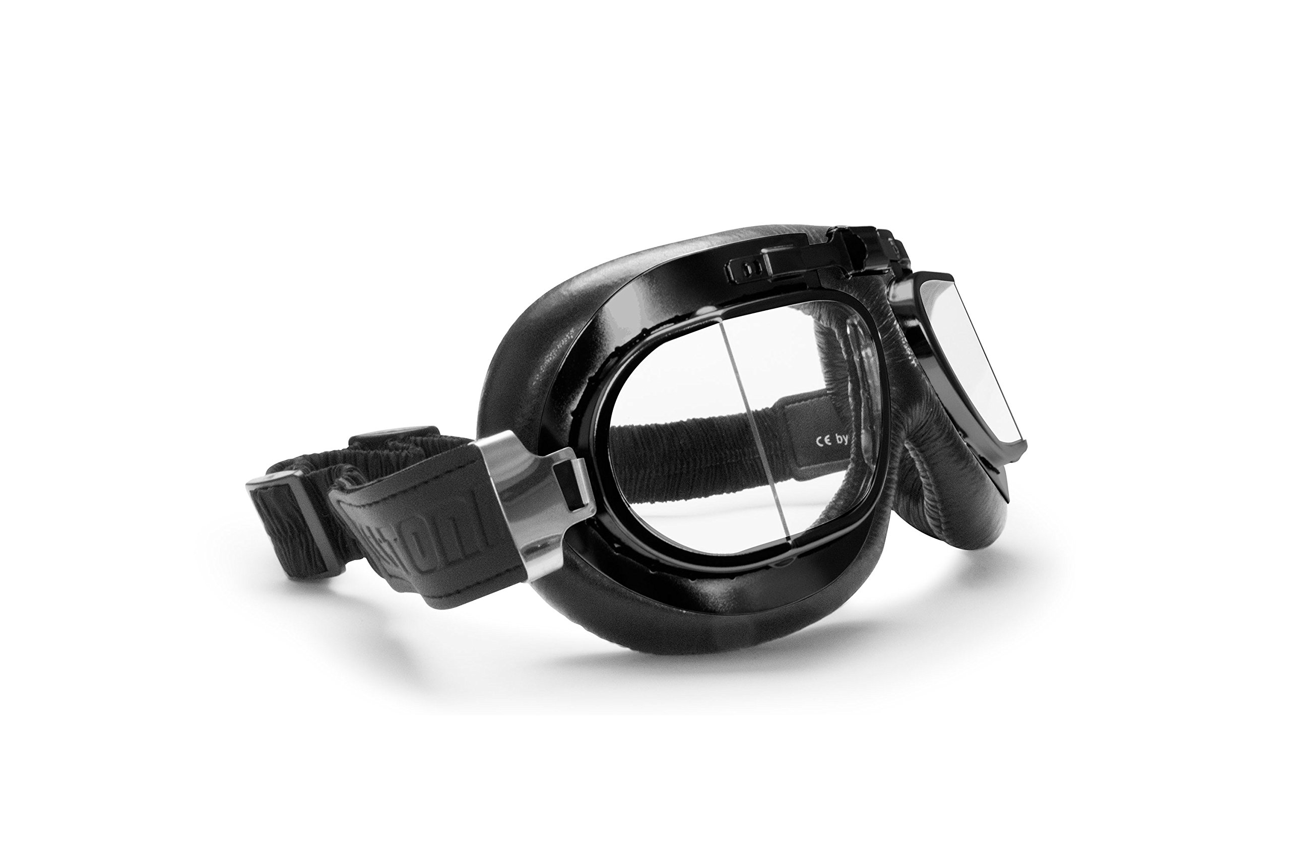 Bertoni Vintage Motorcycle Goggles with Antifog and Anticrash Squared Lenses - Matt Black Steel Rim - AF193A Motorbike Aviator Goggles Italy by Bertoni