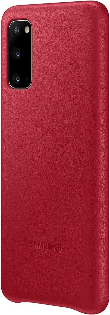 Samsung Leather Smartphone Cover Ef Vg980 Für Galaxy S20 S20 5g Handy Hülle Echtes Leder Schutz Case Stoßfest Premium Rot Elektronik