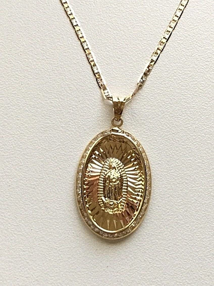 LUXURYGOLD 14K SOLID GOLD GUADALUPE NECKLACE 18 LONG//14K ORO REAL CADENA DE GUADALUPE 18 LARGO