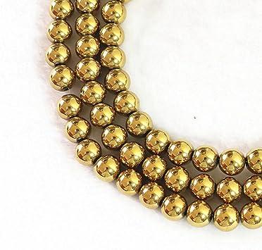 50 Perles Hématite non magnétique 8 mm coloris Doré