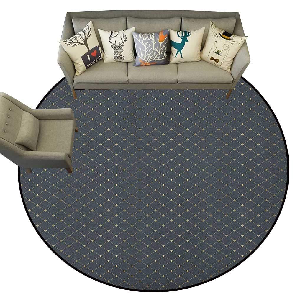 Style11 Diameter 66(inch& xFF09; Fleur De Lis,Personalized Floor mats Diagonal Checkered Pattern with Heraldic Symbols Retro Royal French D54 Floor Mat Entrance Doormat