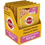 Pedigree Chicken & Rice Flavor in Wet Gravy for Puppies (Labradors, Pugs, etc.)  80 g Pouch (Pack of 5)