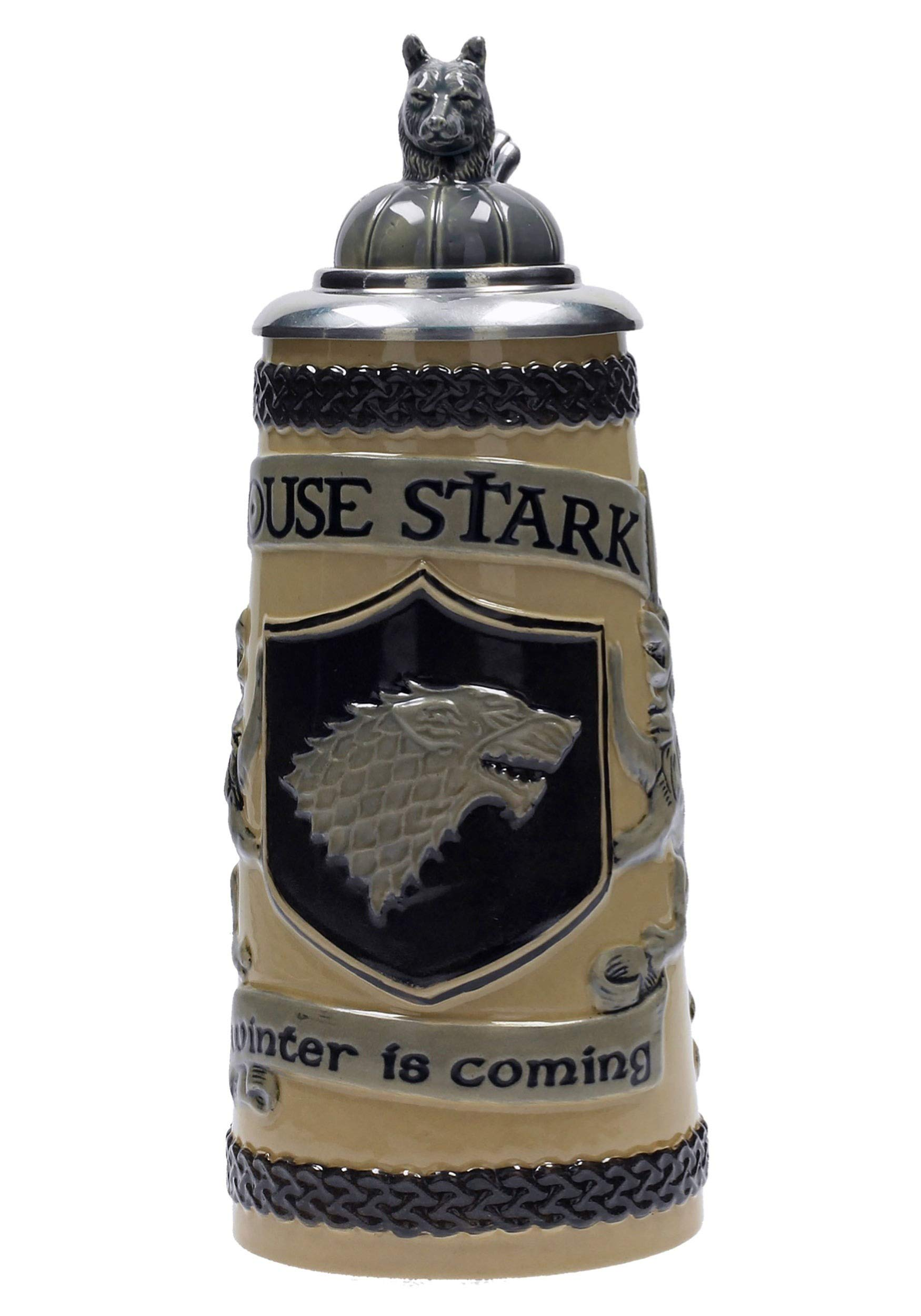 Game of Thrones House Stark Beer Stein | Collectible Authentic Ceramic Drinking Mug | 22 Ounces by SD Toys Merchandising (Image #1)