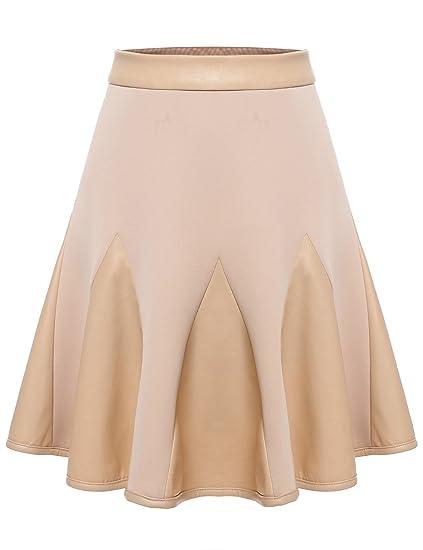Zeagoo Women s Basic Synthetic Leather Skater Patchwork High Waist A-Line  Short Flared Godet Skirt cd12a7147