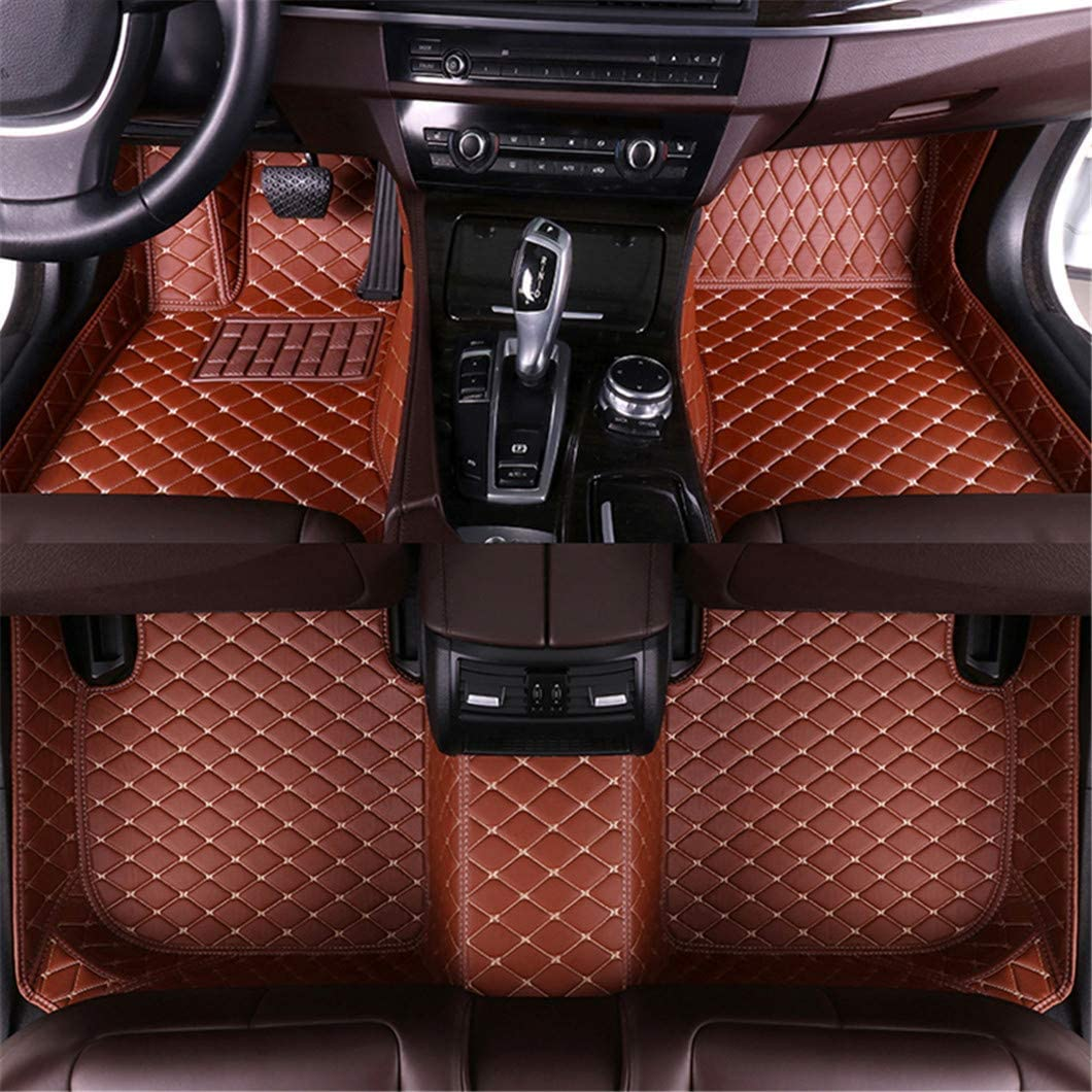 for Acura TL 2006-2008 Car Floor Mats Full Covered Advanced Performance Leather Carpet Auto All Weather Protection Front /& Rear Liner Set Red Wine